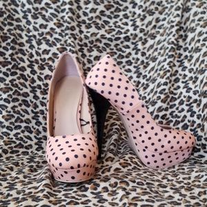 Shoes - Stilettos pink with polka dots